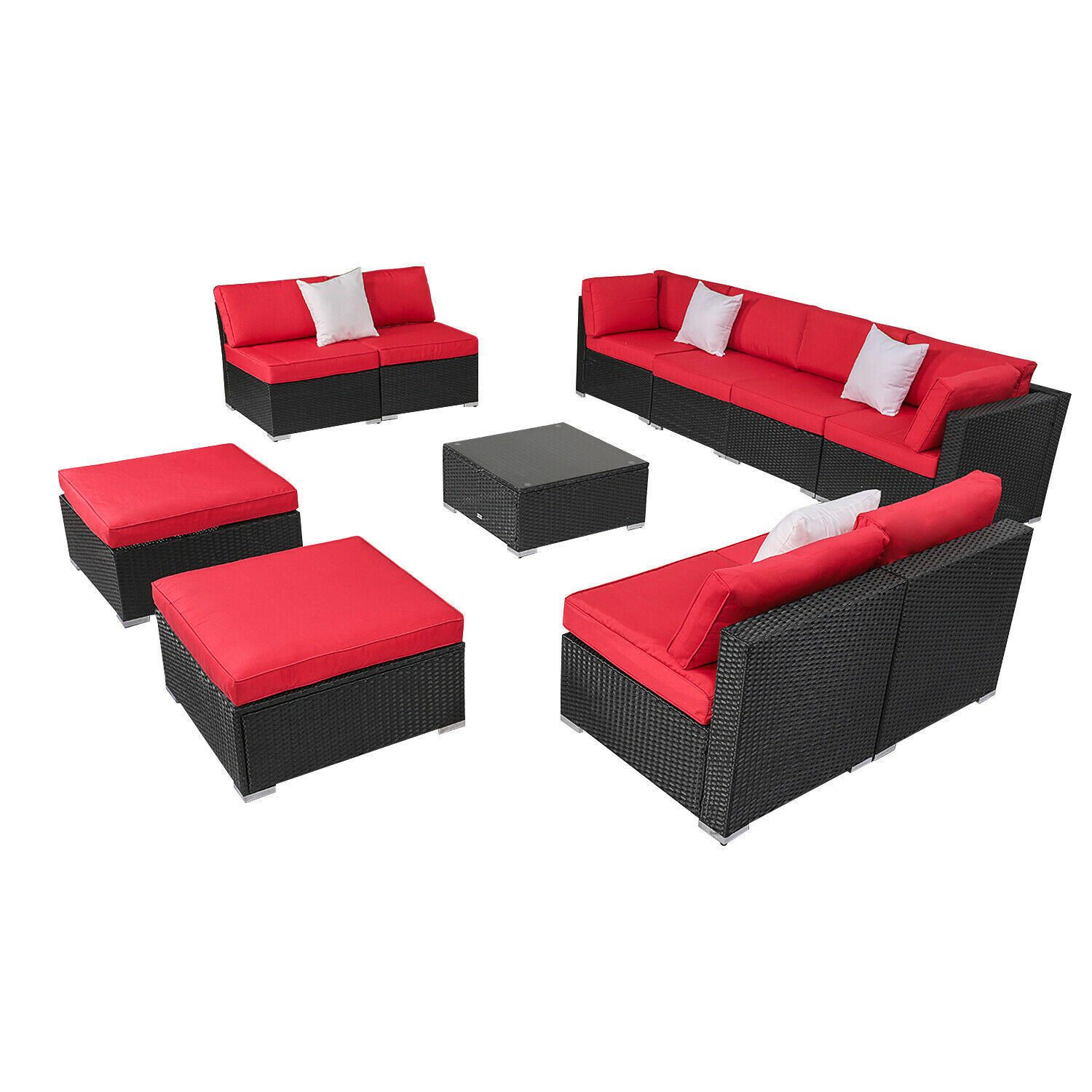 Garden Furniture - 2-11PCS Patio Rattan Wicker Furniture Set Garden Sectional Couch Sofa Red