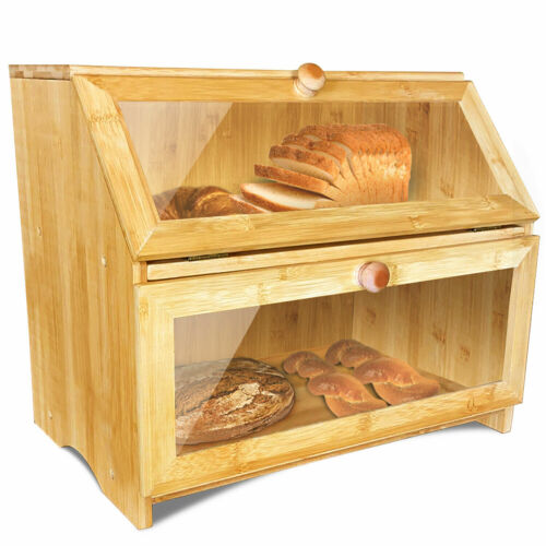 Double Large Wooden Bread Box for Kitchen Counter