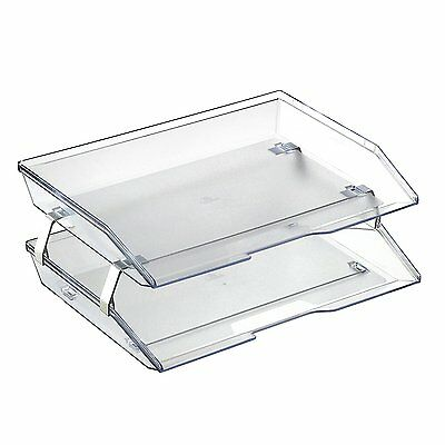 Acrimet Facility 2 Tiers Double Letter Tray Crystal Color