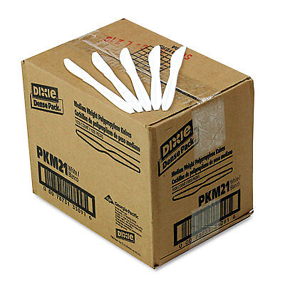 Dixie Plastic Cutlery Mediumweight Knives White 1000/Carton PKM21
