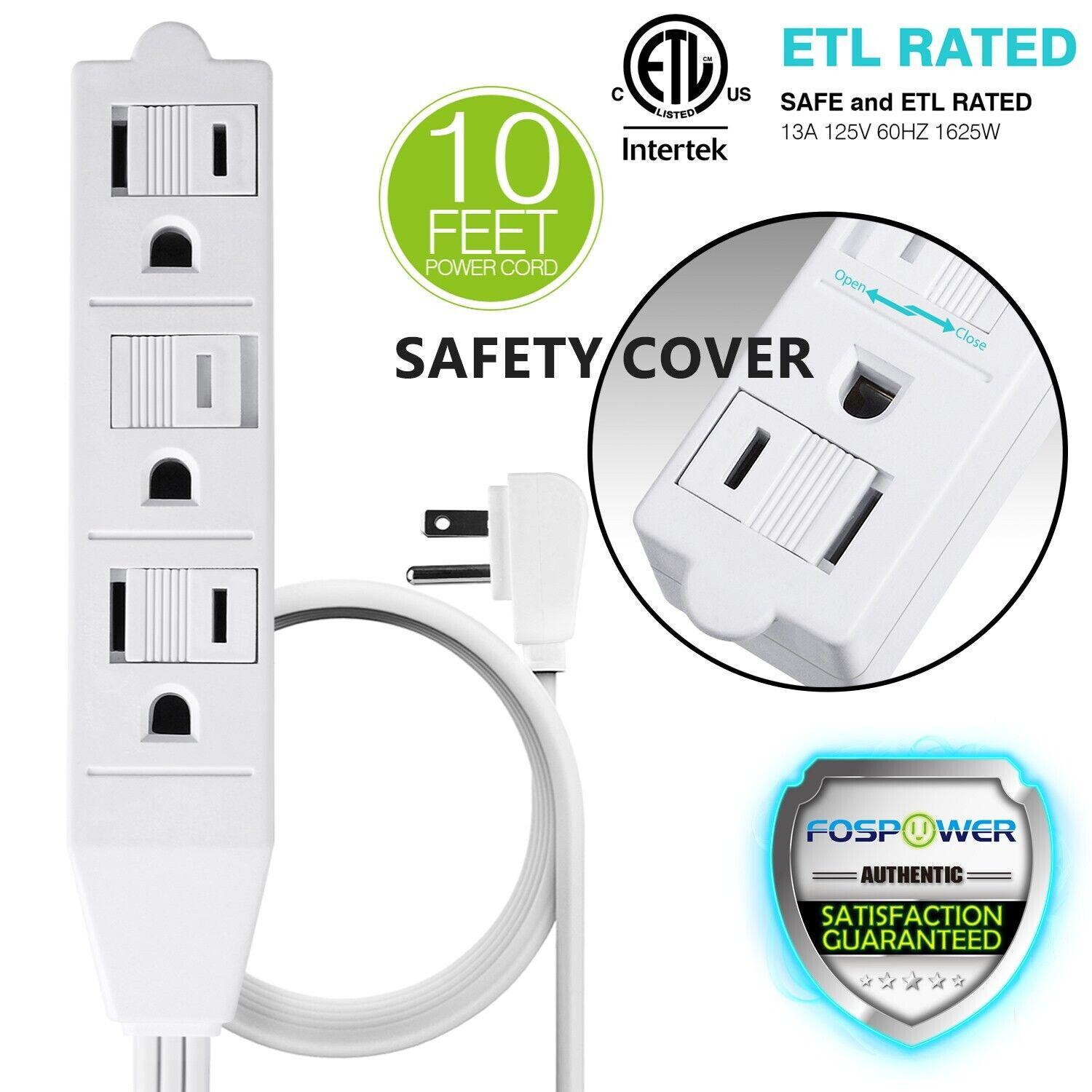 3 Outlet Wall Tap Power Strip Adapter Flat Plug Safety Cover