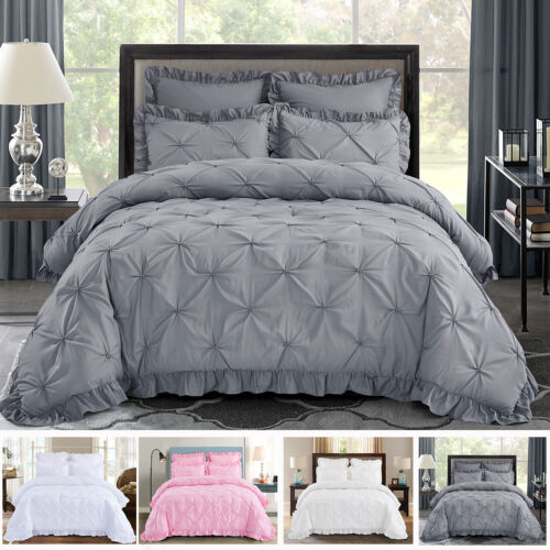HIG 5 Piece Comforter Set Pinch Pleat Scallop Fringe HANIA Bedding Collection