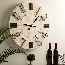 Glitzhome 28'' Rustic Wooden Large Wall Clock Watch Farmhouse Style Home Decor
