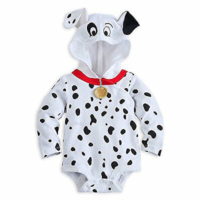 Disney Store 101 Dalmations Puppy Costume Hooded Bodysuit Outfit Baby Dog Puppy