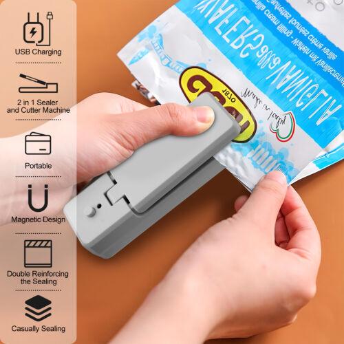 2in1 Mini Heat Sealing Machine Impulse Sealer Packing Plastic Bag Rechargeable
