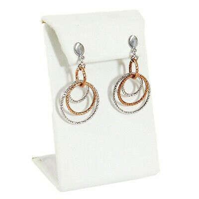 White Faux Leather One Pair Earring Jewelry Display Holder Curved L-Style Stand