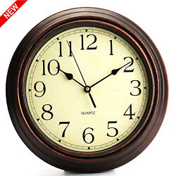 Large Classic Quartz Wall Clock 12 Inch Round Wood Frame Quiet Office Classroom.