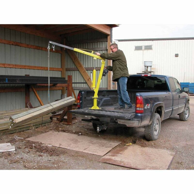Hand Crank Steel Crane - 2,000 lbs Cap - Truck or Trailer Bed Mounted - 360 Deg