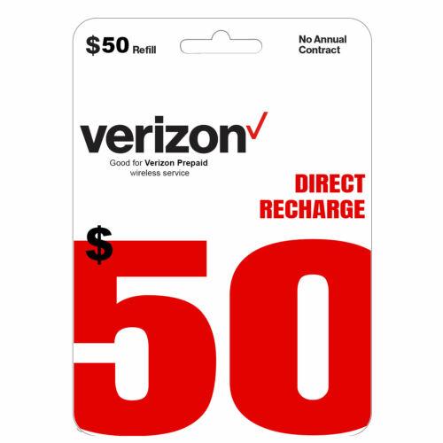 VERIZON Prepaid $50 Refill Top-Up Prepaid Card / DIRECT RECHARGE