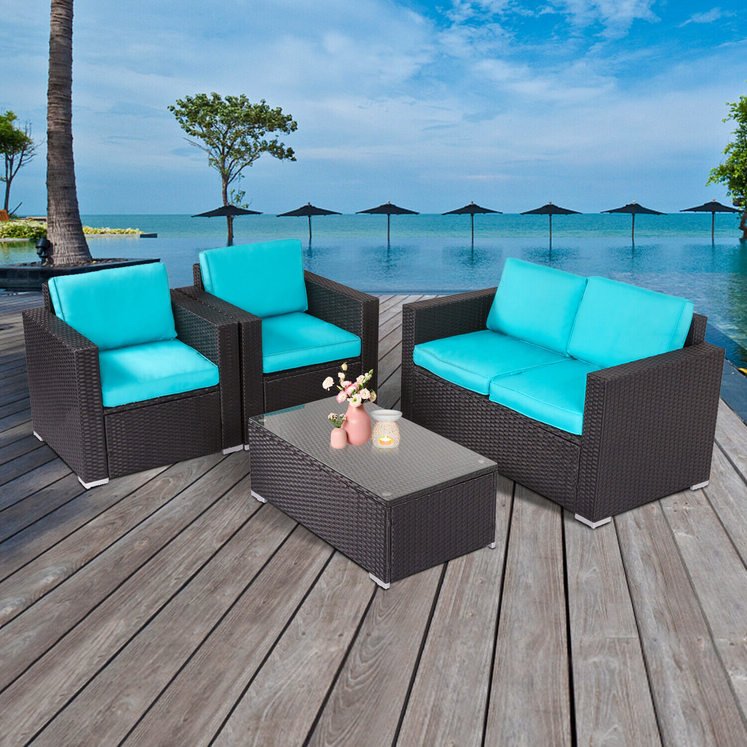 Garden Furniture - 4 PCs Rattan Patio Outdoor Furniture Set Garden Lawn Sofa Sectional Set Blue