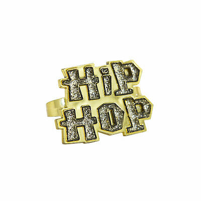 Hip-Hop Ring Gold Schmuck Hip Hopper Rapper Gangster Kostüm Fasching Karneval