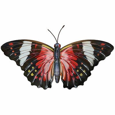 Red & Black Metal Butterfly Garden/Home Wall Art Ornament 35x20cm ()