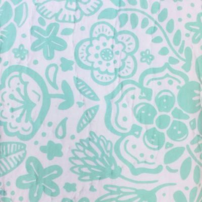 Twin Bed Cotton Quilt With Aqua Birds & Flowers, Floral Bed Comforter