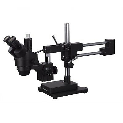 Amscope 3.5x-180x Trinocular Stereo Zoom Microscope Double Arm Boom Stand