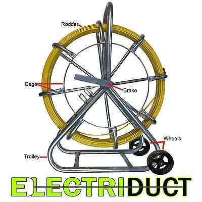 1000ft X 12 Diameter Cable Rodder Duct Coated Fiberglass W Cage Wheel Stand