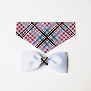 Pink Plaid Over the Collar Bandana with Matching Bow Tie