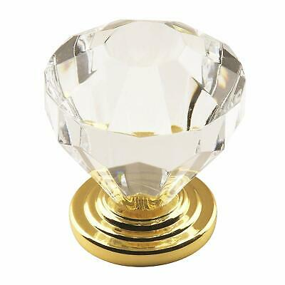 Amerock Traditional Classics Knob with Acrylic Base Gold & Crystal Lot of 5 knob Amerock Traditional Classics Crystal