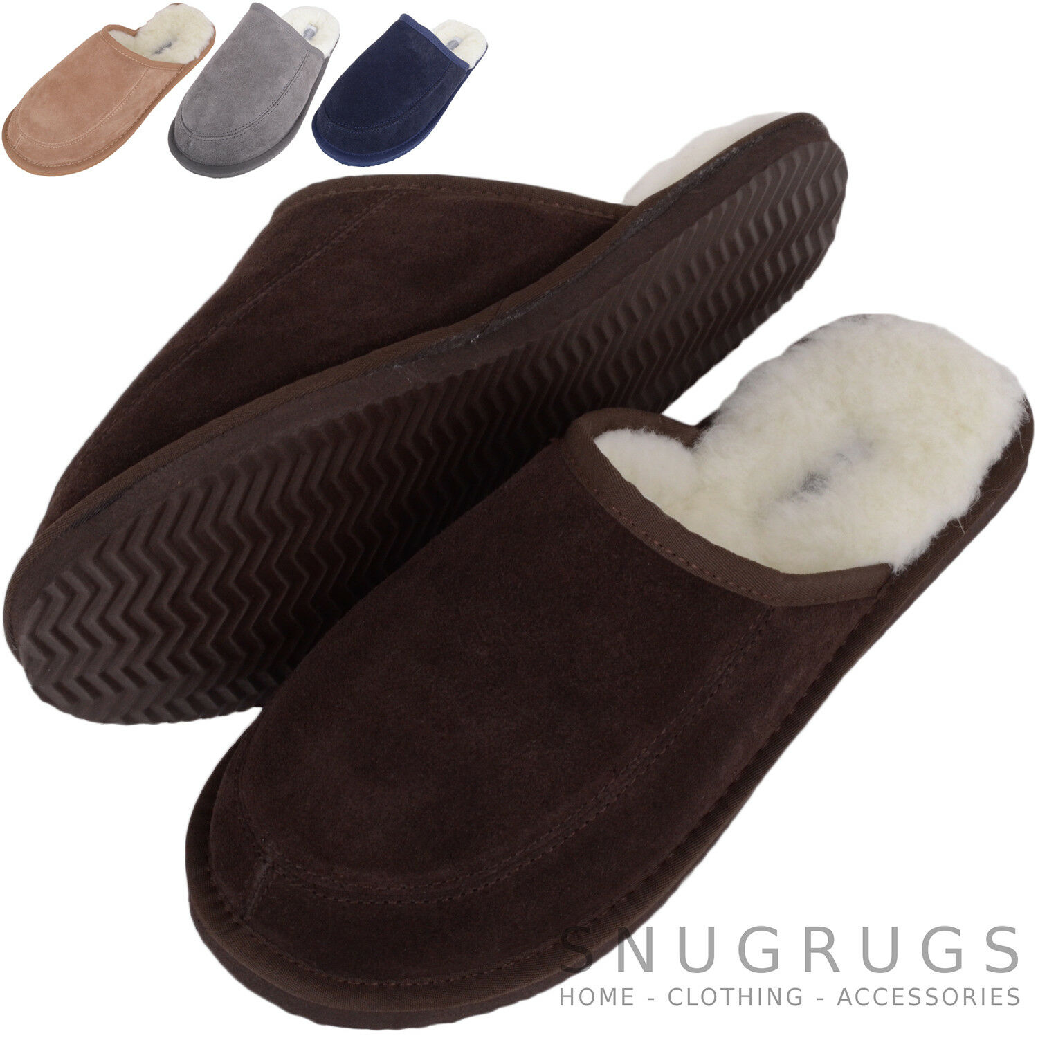 Indoor Shoes Gents Wool Lined SNUGRUGS Mens Sheepskin Slippers