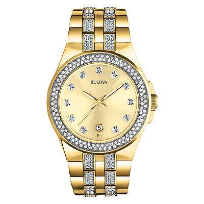 Bulova Men's Quartz Swarovski Crystal Accents Date Calendar 42mm Watch 98B174