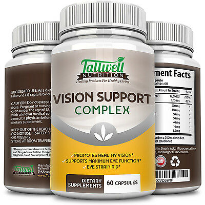 Best Vision Supplement - Lutein, Lycopene, Biotin, Vitamin A, 60 veggie