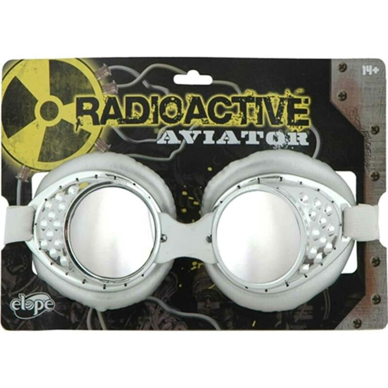 Radioactive Aviators Silver and White Goggles