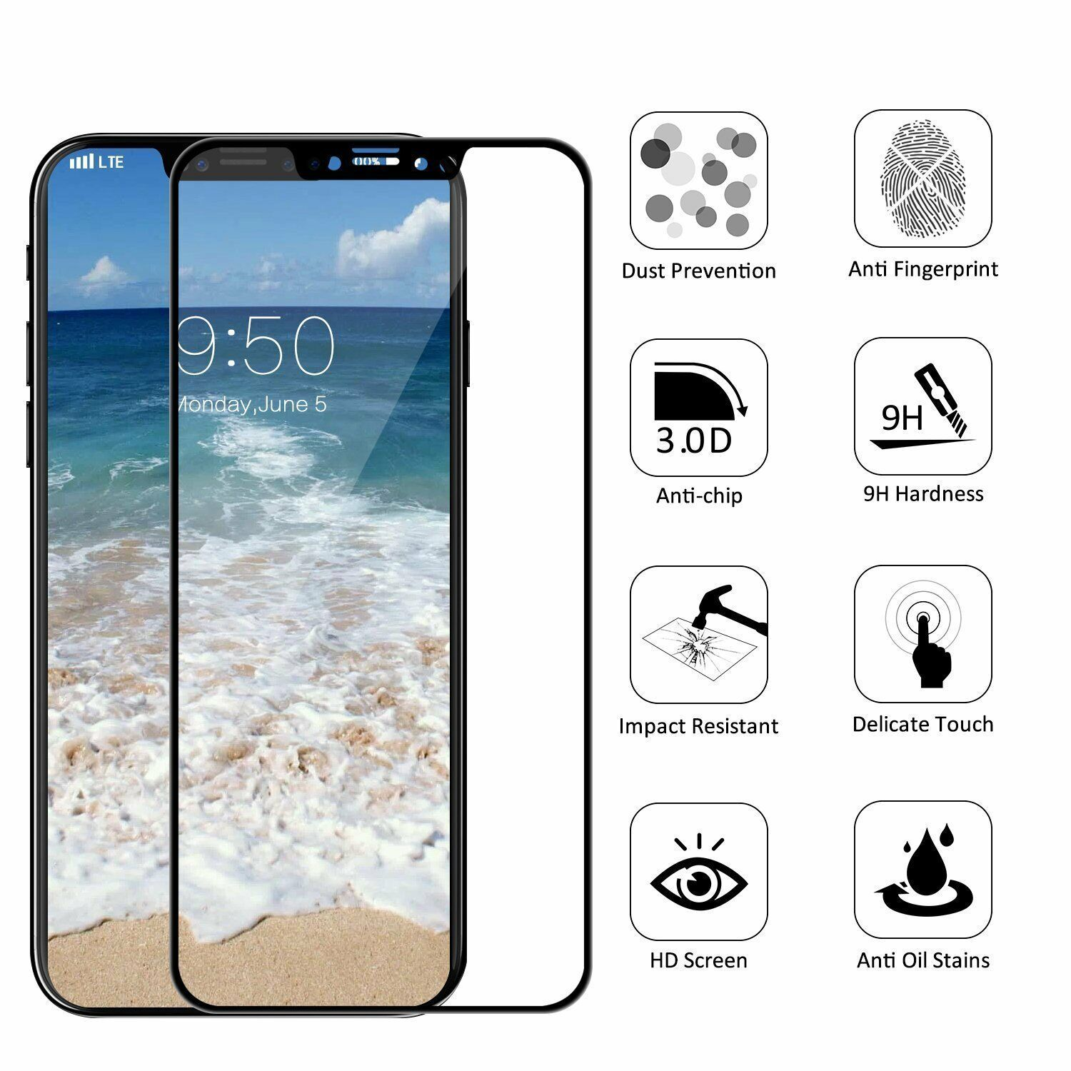 For iPhone X 3D Curved Full Coverage Tempered Glass Screen Protector