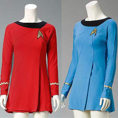 Classic Star Trek Female Duty TOS Blue Uniform Red Dress Cosplay Costume Adult  - Star Trek Blue Dress