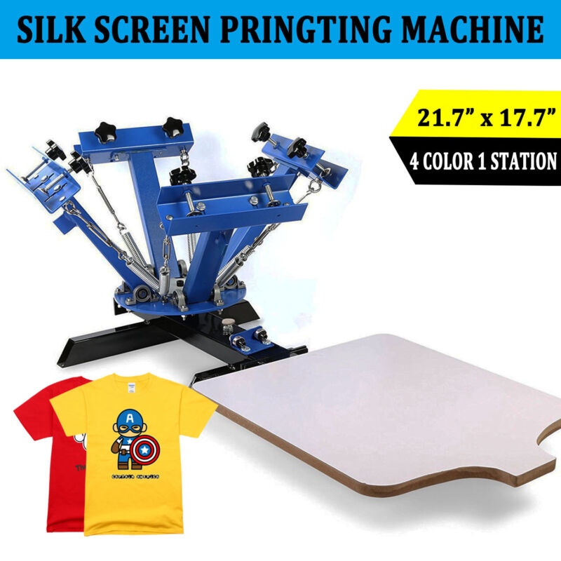 4 Color 1 Station Silk Screen Printing Machine Press Equipment T-Shirts DIY
