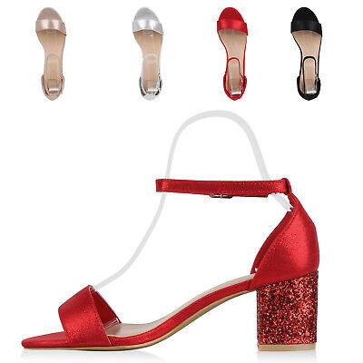 892603 Ladies Sandaletten Mid Heels Glitter Metallic Party Schuhe Modatipp Glitter Party Schuhe
