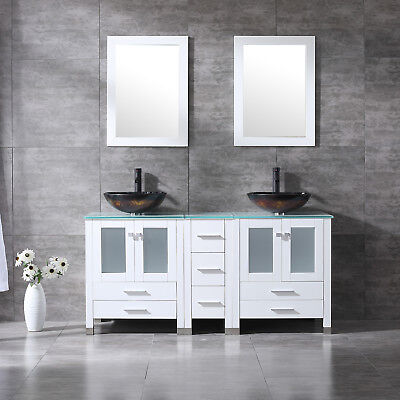 60'' Bathroom Vanity Cabinet Double Glass Vessel Sink W/ Faucet Mirror White Set Bathroom Double Sink Cabinets