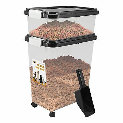 Pet Food Storage Container With Lids Dog Cat Animal Food with 2 cup Scoop Black