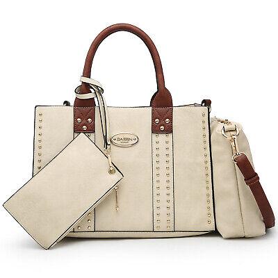 Dasein 3pcs Women Handbags Faux Leather Satchel Tote Shoulder Bag Studs Purses Ladies Studded Satchel