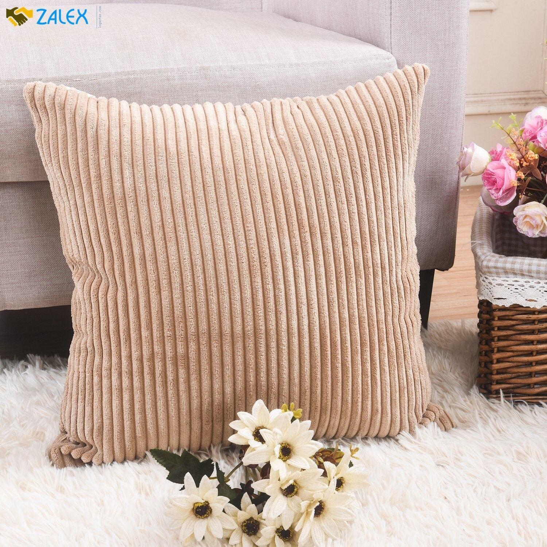 HOME BRILLIANT Decor Decorative Soft Velvet Corduroy Striped