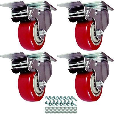 4 Pack Caster Wheels Swivel Plate W Hd Hardware Kit 3 W Brake