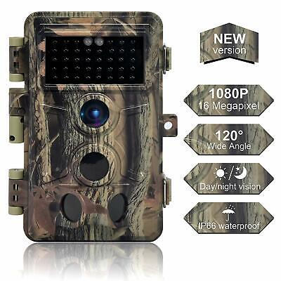 Trail Camera 16MP 1080P, Game Camera with No Glow LED Infrared Night Vision 65Ft