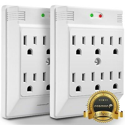 Fosmon 2X  Etl Listed  6 Outlet 700 J Wall Tap Mount Surge Protector Outlet Plug