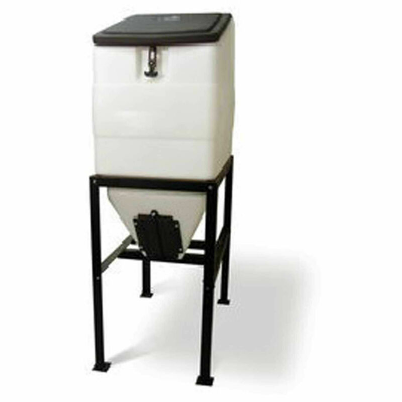 High Country BIN-270 Plastics Feed Bin With Stand, 270 Lbs Cap, White/Black