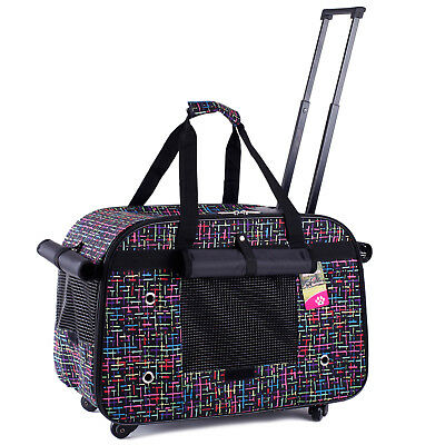4 Wheels Pet Dog Cat Carrier Airline Approved Rolling Handbag Comfort Outdoor 15