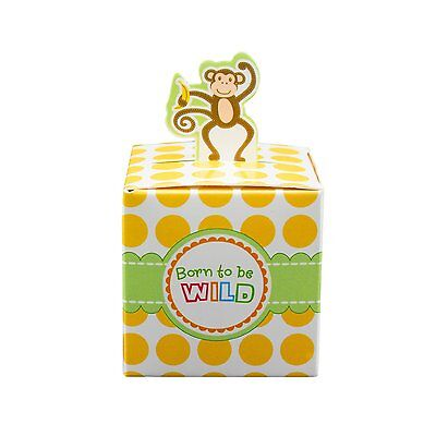 12  Monkey Born To Be Wild Jungle Baby shower Favor Candy Boxes Party - Jungle Baby Shower Decorations