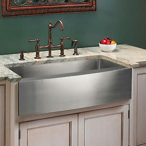 Signature Hardware 30 Optimum Stainless Steel Farmhouse Sink Curved