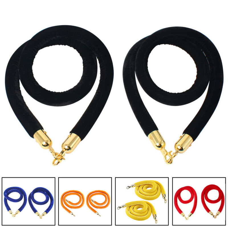 Champion 2 Packs of 6.6 Feet Different Color Velvet Rope for Crowd Control