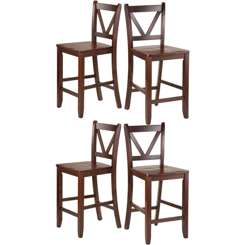 Winsome Victor 24 Inch Tall Solid Wood Counter Bar Stool Set, 4 Piece, Brown