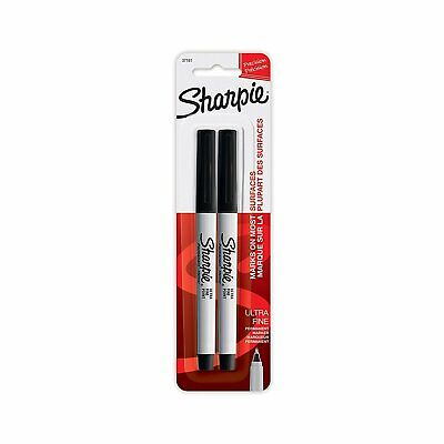 Sharpie Permanent Markers Ultra Fine Point Black Ink 2-count