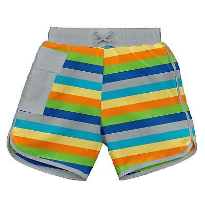 i play. Boys Pocket Trunks with Reusable Swim Diaper, Gray Multi, 6 (I Play Trunk)