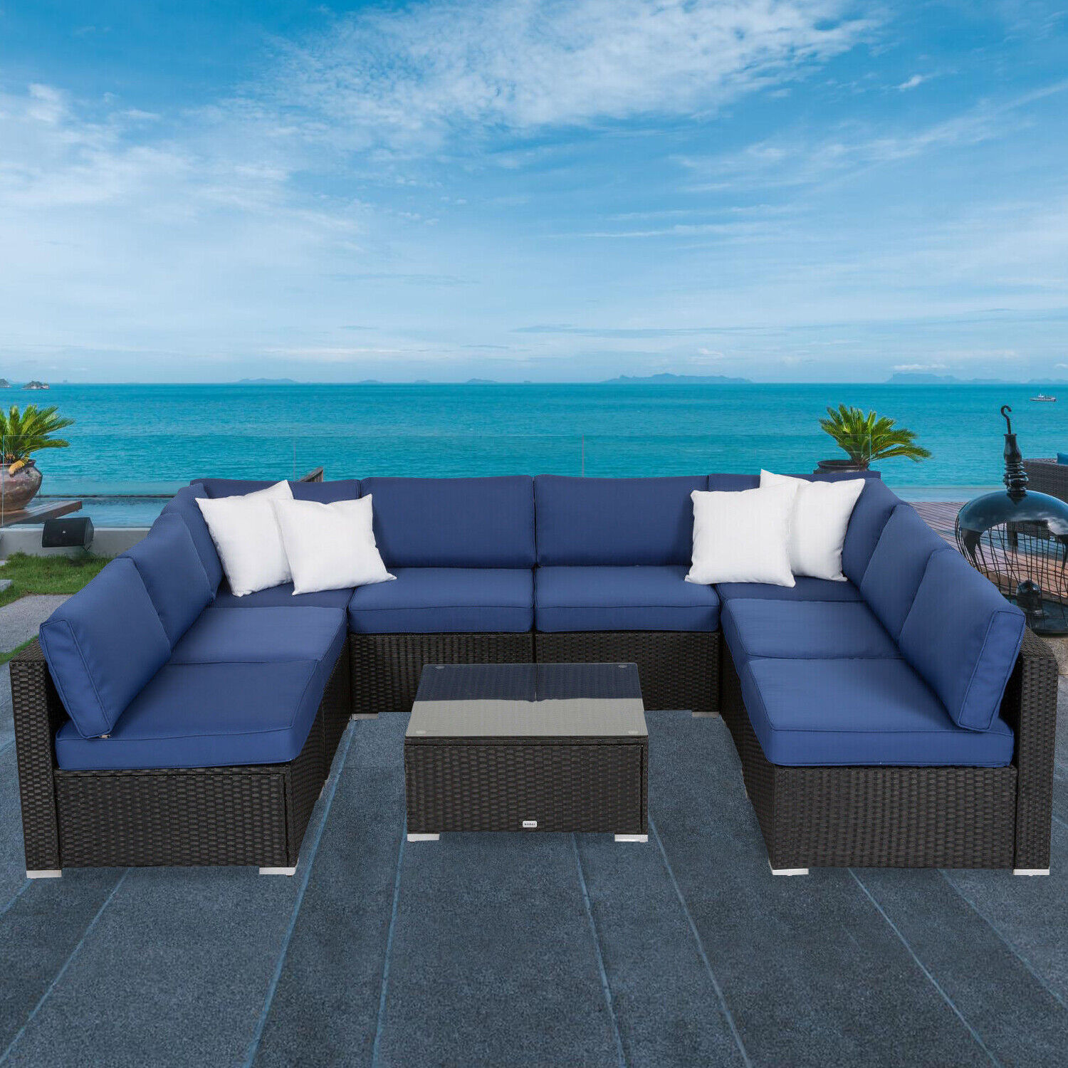 Garden Furniture - 9pcs Outdoor Patio Sofa Set Rattan Garden Furniture Sectional Garden Yard Deck