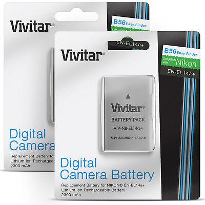 2x Vivitar EN-EL14a Battery for Nikon D3400 D3300 D3200 D5500 D5300 D7200 D7100