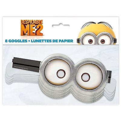 NEW 2x TWO Despicable Me Minions 8x ea Goggles Birthday Halloween 16 total paper
