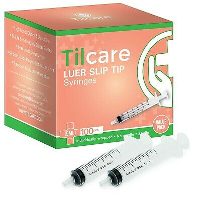5ml Syringe Without Needle Luer Slip 100 Pack By Tilcare - Sterile Plastic Me...