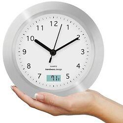 Round Analog Wall Clock Digital Temp Bath Room Shelf Suction Cup Mount Quartz