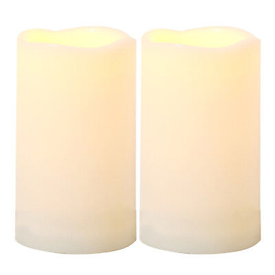 "2 PCS Waterproof Outdoor Flameless Battery-operated LED Candles with Timer 3""x5"""